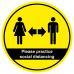 Please practice social distancing round floor sticker