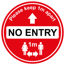 No entry 1m social distancing sign