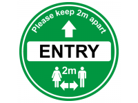 Green Entry Floor sign for soclal dis...