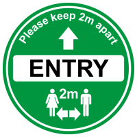 Green Entry Floor sign for soclal distancing in shops, cafe etc