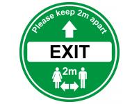 Green Exit floor sign for soclal dist...