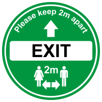 Green Exit floor sign for soclal distancing in shops, cafe etc