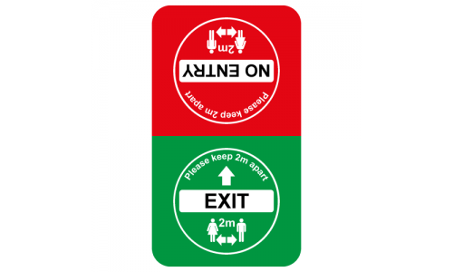 Exit and No Entry floor sticker for social distancing
