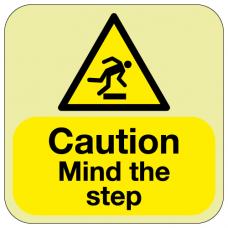 Photoluminescent Caution mind the step floor marker