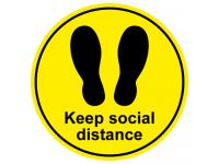 Keep social distance footprint floor ...