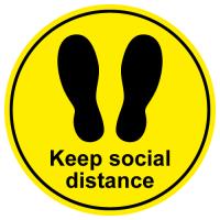 Keep social distance footprint floor sticker