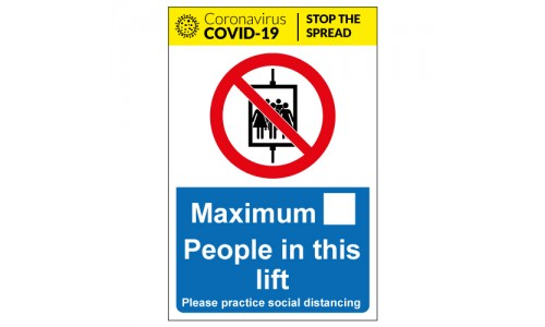 Maximum people in this lift social distancing sign