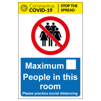 Maximum people in this room social distancing signs