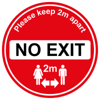 No Exit floor sign for soclal distancing in shops, cafe etc
