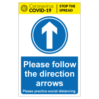 Please follow the direction arrows for social distancing sign