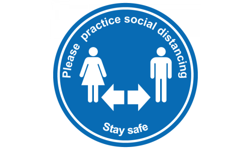 Practice social distancing floor graphic sticker, stay safe
