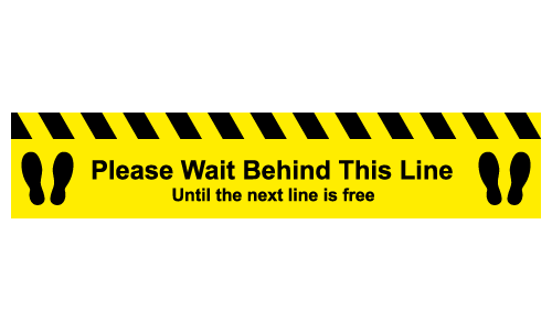Please wait behind this line Until the next line is free social distancing floor sticker