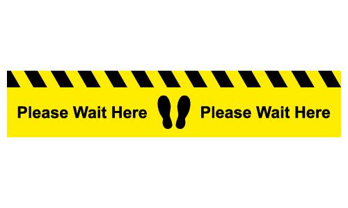 Please wait here line floor sticker