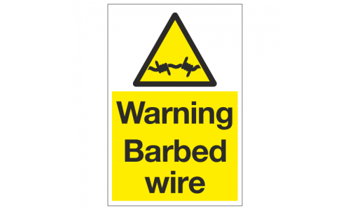 Warning barbed wire sign