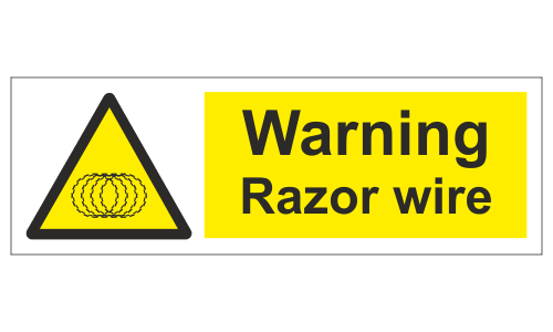 Warning razor wire sign