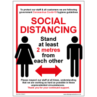Social Distancing Sign - Stand at least 2 metres from each other.