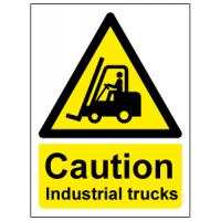 Caution industrial trucks sign
